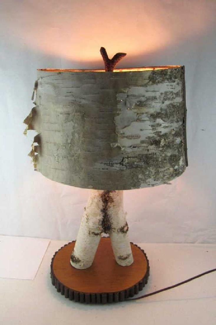 Birch Bark Set--Mirror and Lamp