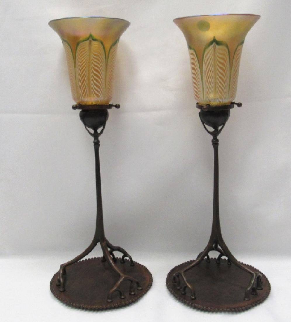 Pair of Tiffany Studios Candle Holders