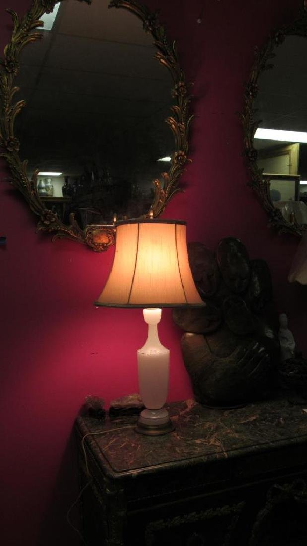 Very Old White Glass Table Lamp - 10