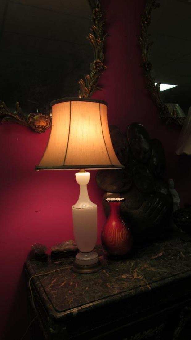 Very Old White Glass Table Lamp - 2