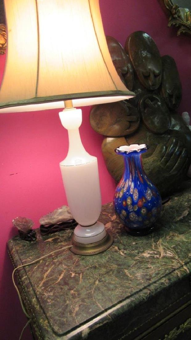 Very Old White Glass Table Lamp - 4