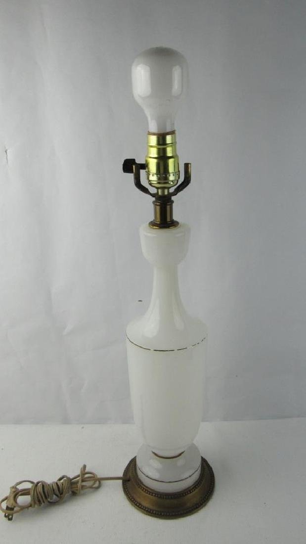 Very Old White Glass Table Lamp - 9
