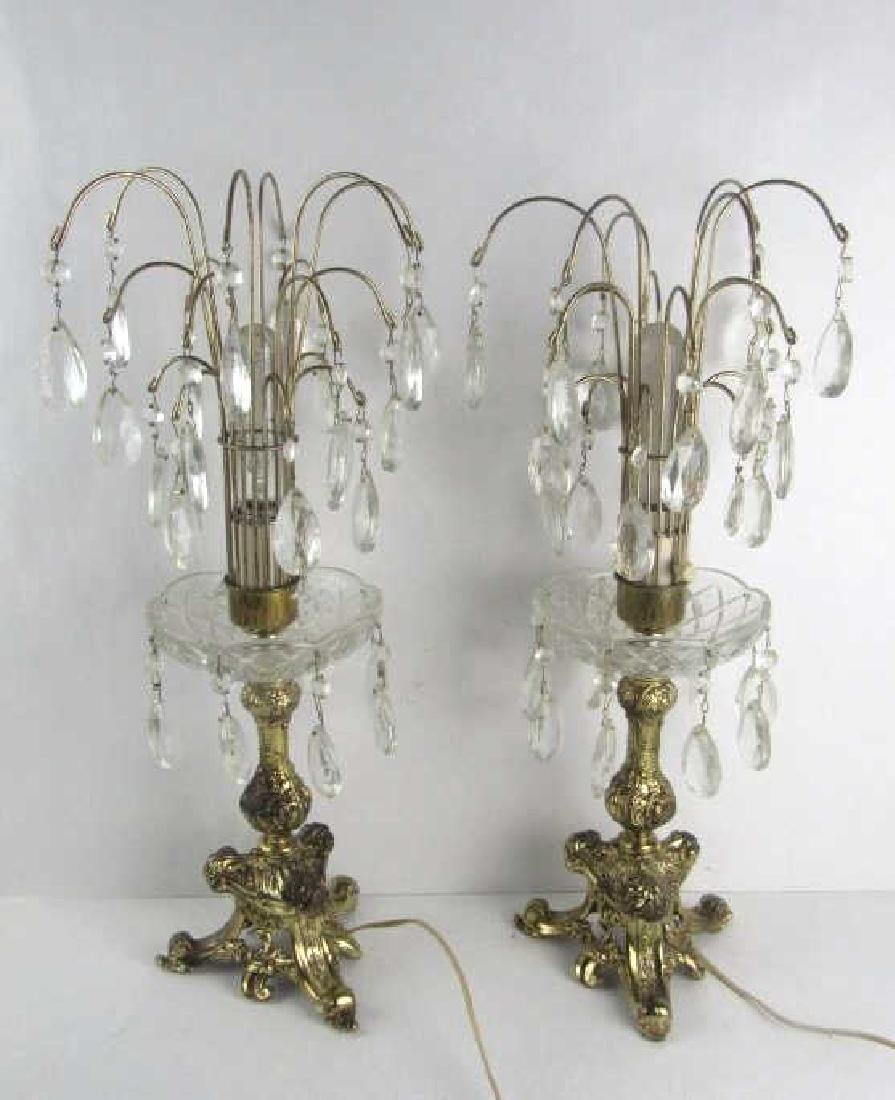 Pair Gold Ormolu and Crystal Table Lamp