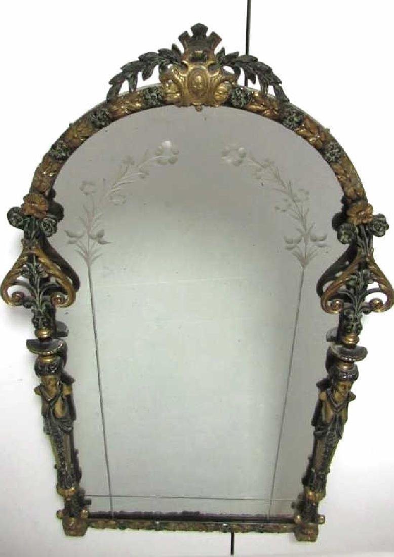 Beautiful Very Old Victorian Bronze Hanging Mirror