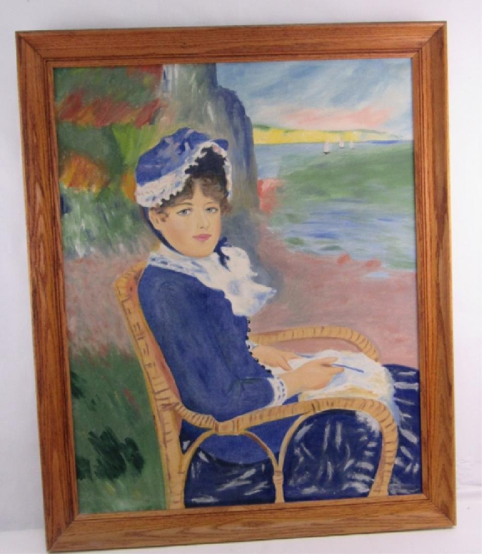 Original Oil Painting Portrait of a Lady in Blue