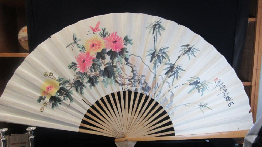 Old Large Chinese Paper and Wood Fan