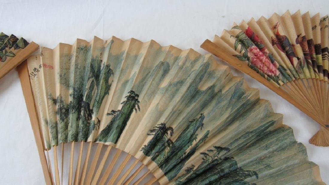 Lot of 3 Old Chinese Paper Fans