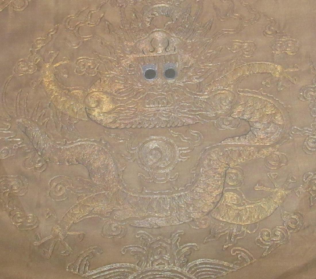 Framed Chinese Qing Dynasty Silk Golden Dragon