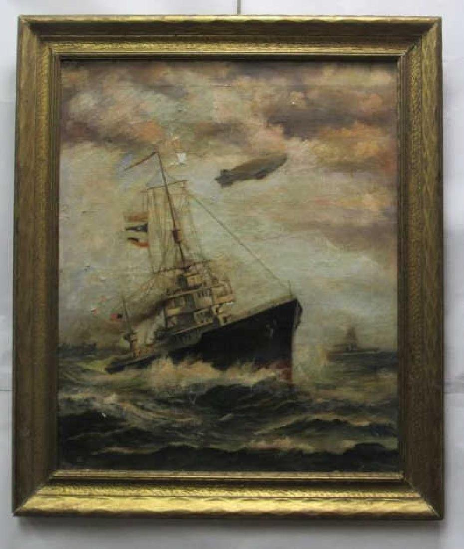 Original Oil Painting of American Boat WW2