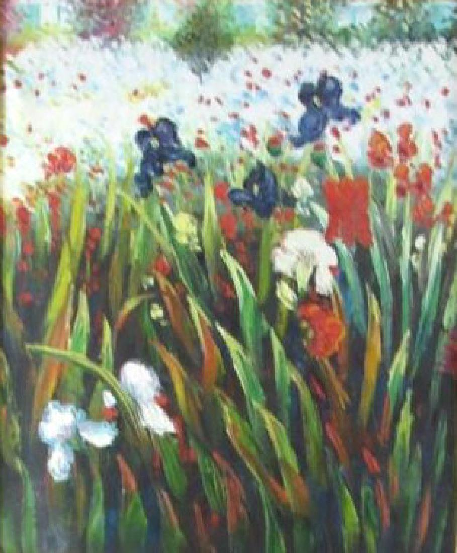 Oil Painting of Flower Bed