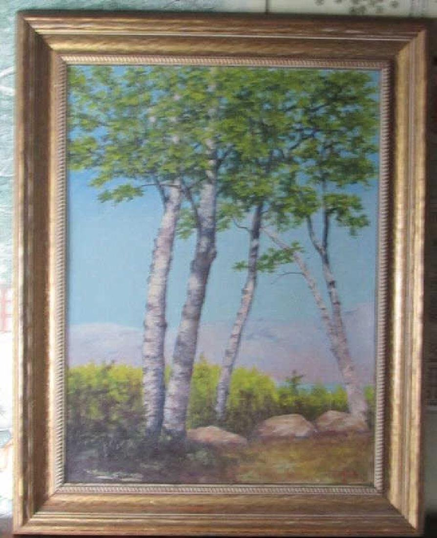 Beautiful Oil Painting of Birch Trees Signed