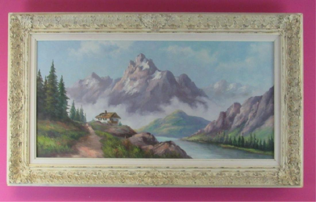 Original Oil Painting of Mountain Scene