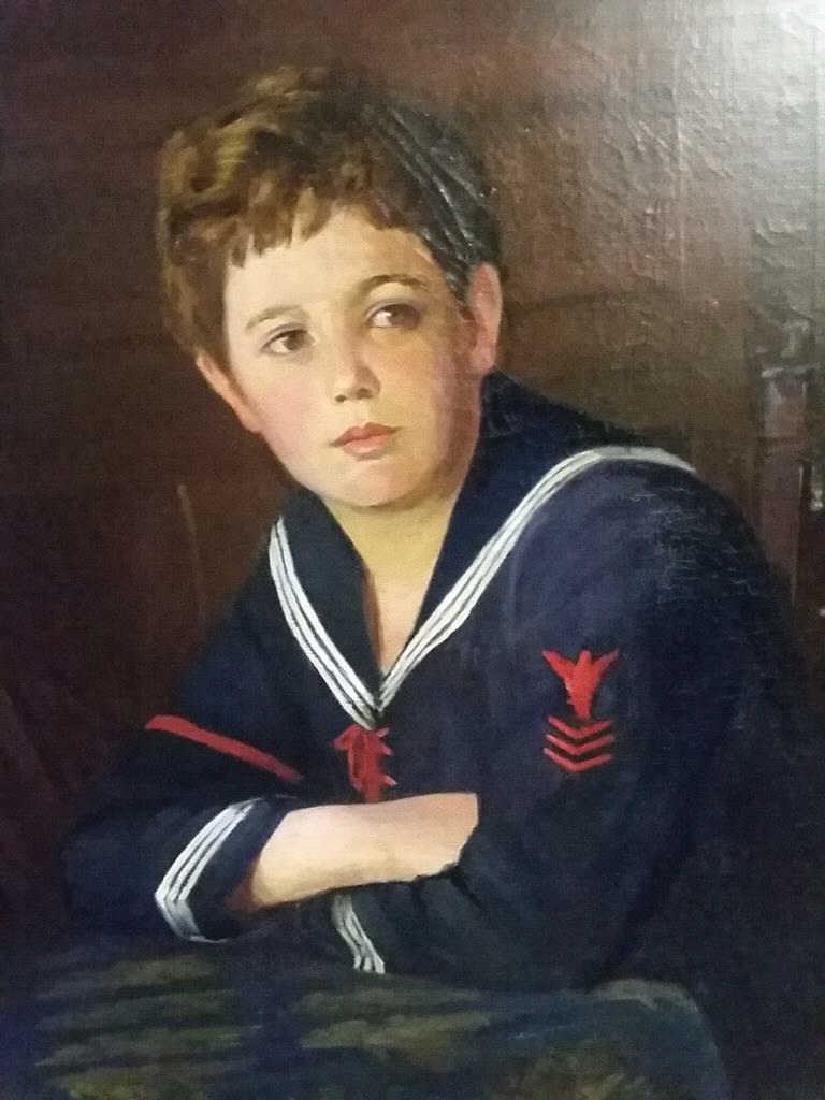 Original Oil Portrait of a School Boy
