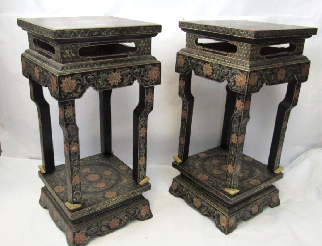 Pair Chinese Export Black Stand