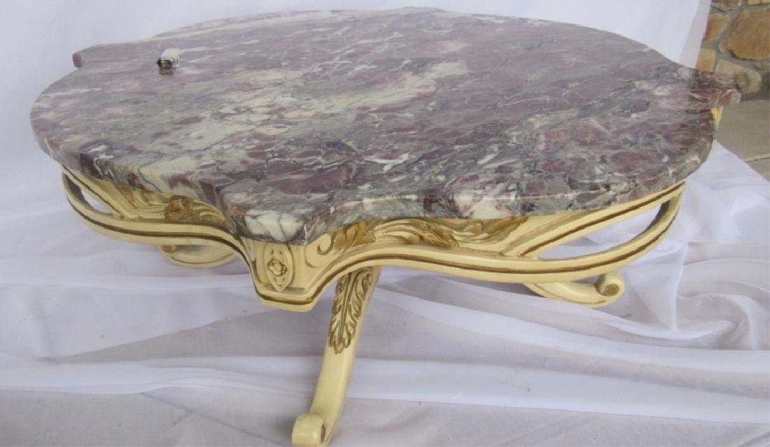 Victorian Style Short Table with Natural Stone Top