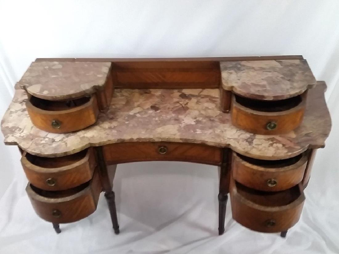Stone Top Inlaid Mahogany Desk