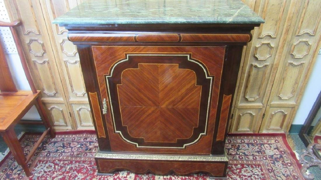 French Marquetry Cabinet With Marble Top