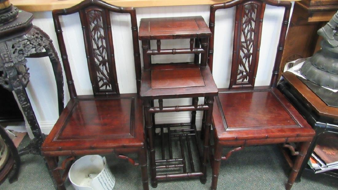 Pair of Chinese Huanghuali Wood Chairs & table