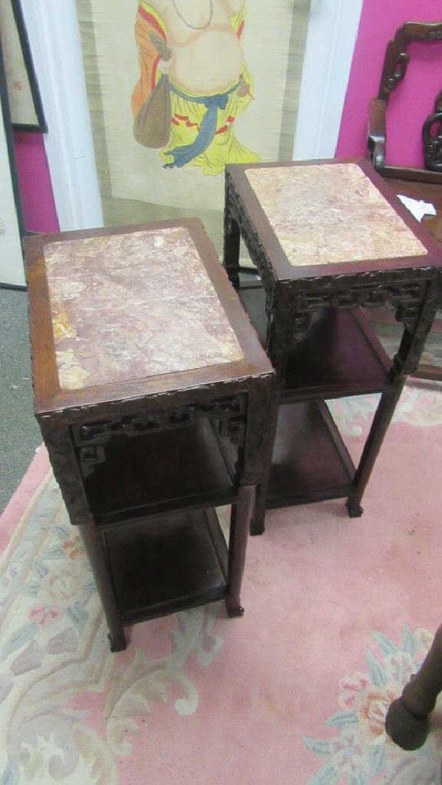 Pair Rosewood Tables with Marble Tops