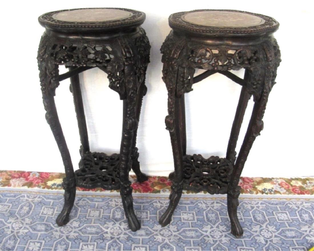 Pair of Rosewood Plant Stands