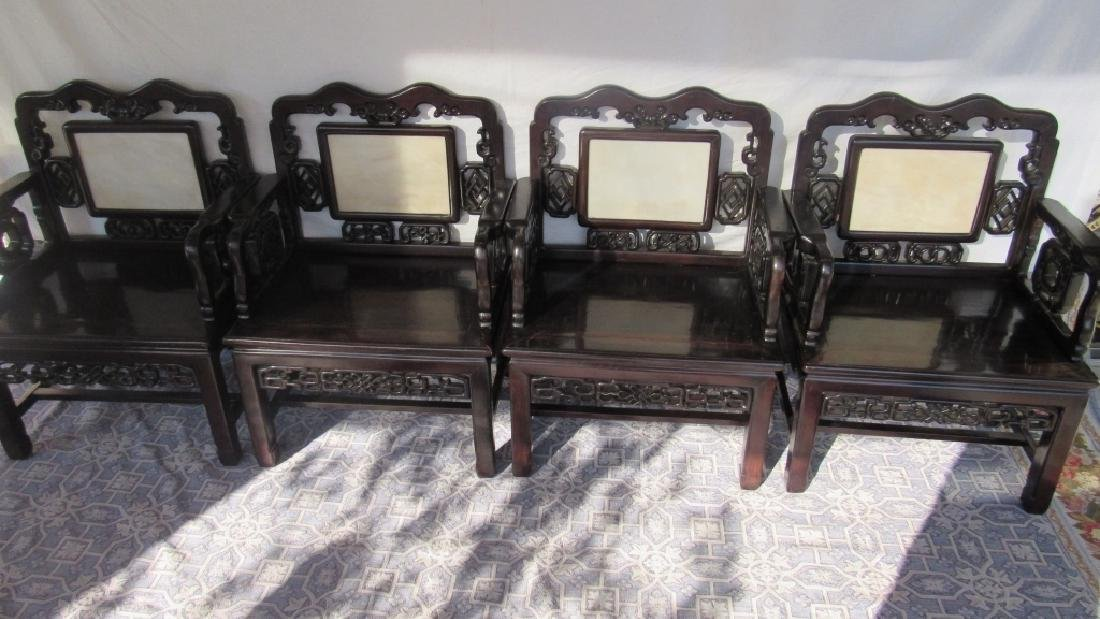 Set of 4 Carved Rosewood Chairs