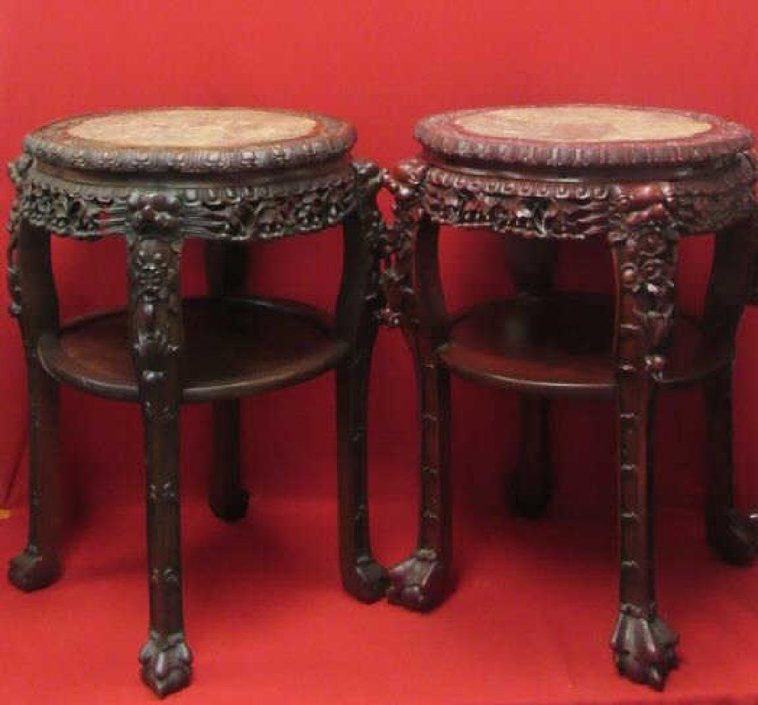 Pair Carved Rosewood Plant Stand