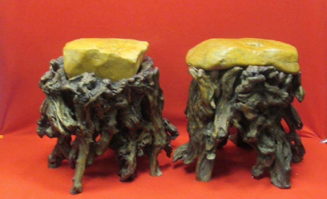 Pair of Chinese Wax Stone Rootwood Stools