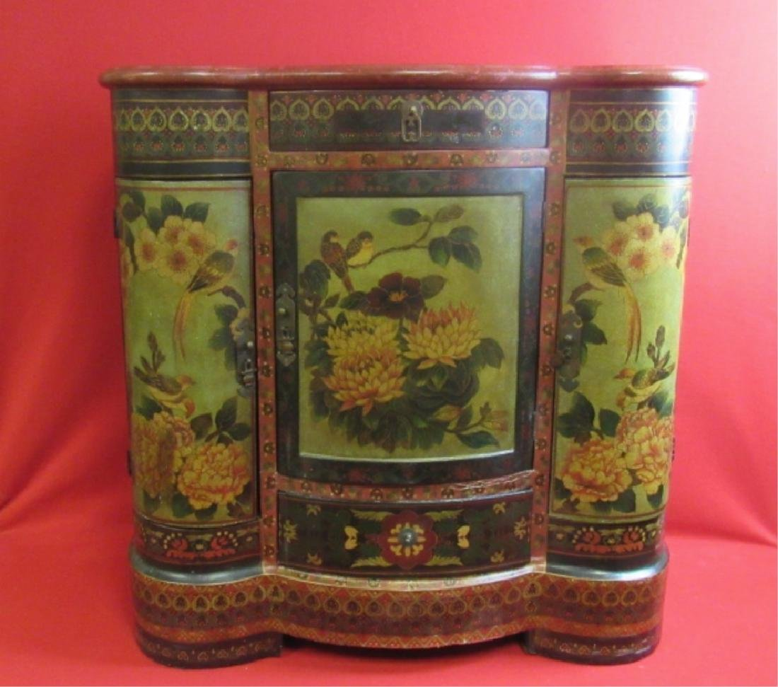 Qing Dynasty Painted Cabinet with Pullout Drawers