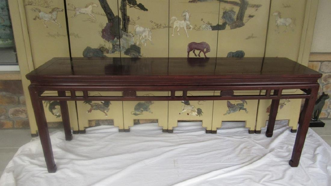20th Century Carved Huanghuali  Wood Hall Table