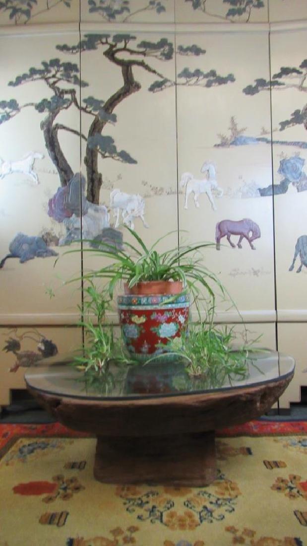 Antique Japanese Carved Usu Trunk Table