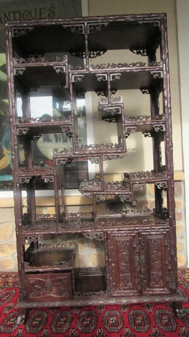 Carved Zitan Wood Curio Shelf