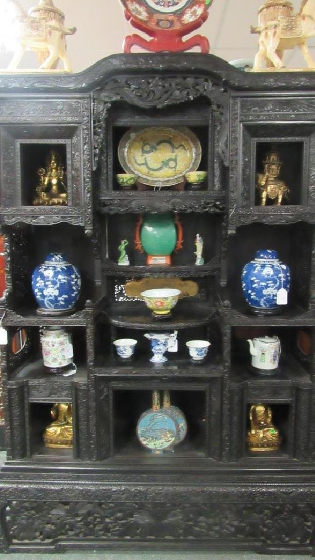 Chinese Jinsi Nanmu Hand Carved Display Shelf