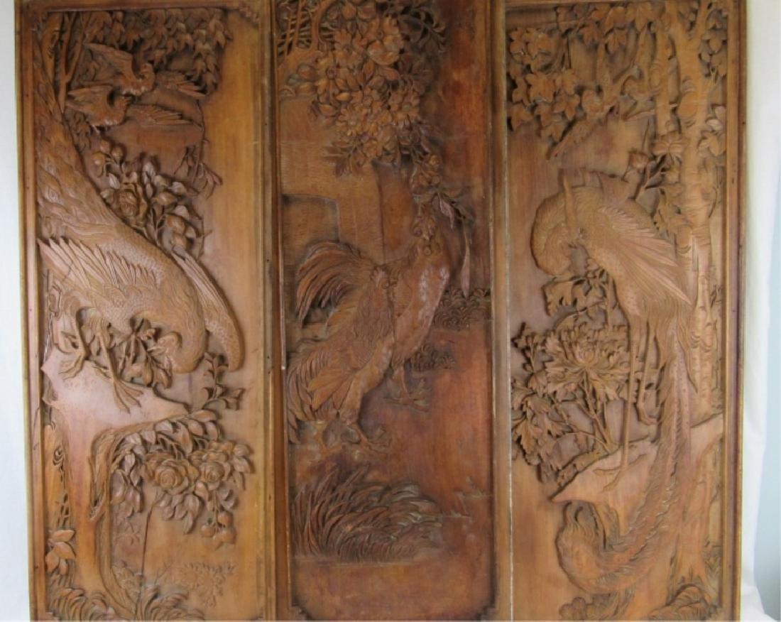 Qing Dynasty Hardwood Carved Panels