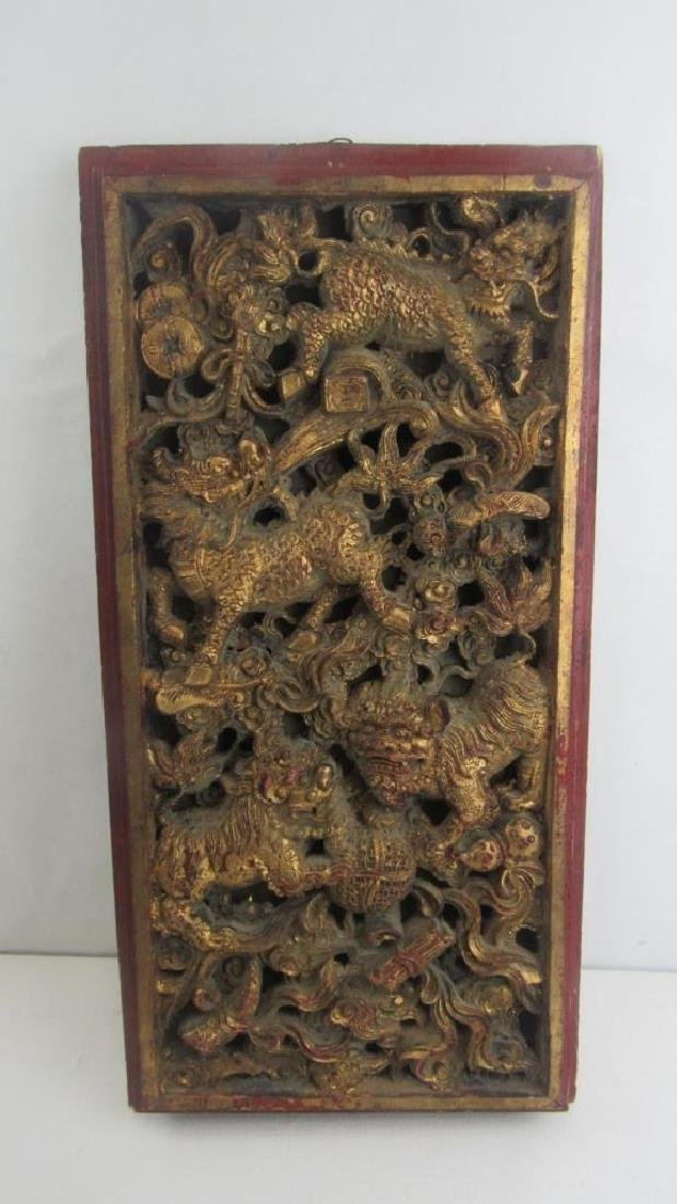 Old Gold Gilded Wood Carving of Musical Scene