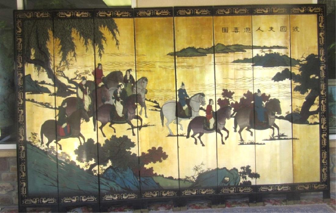 Huge Chinese Enameled Screen