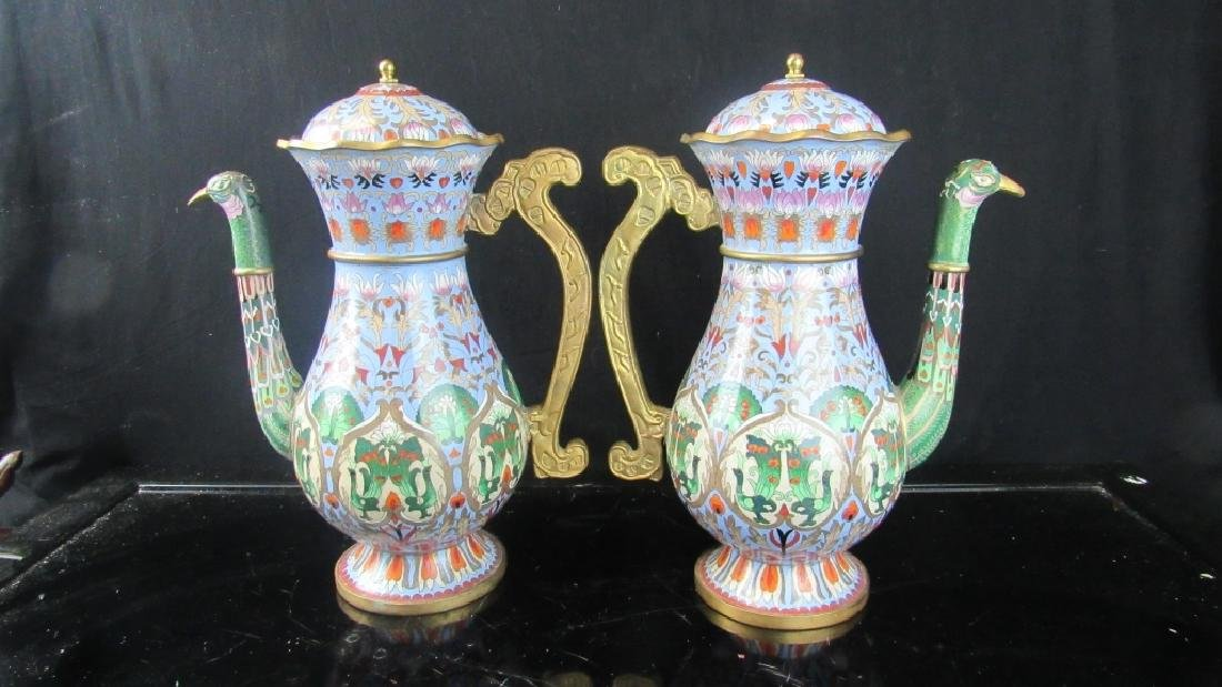 Qing Dynasty Style Cloisonnee Peacock Urns