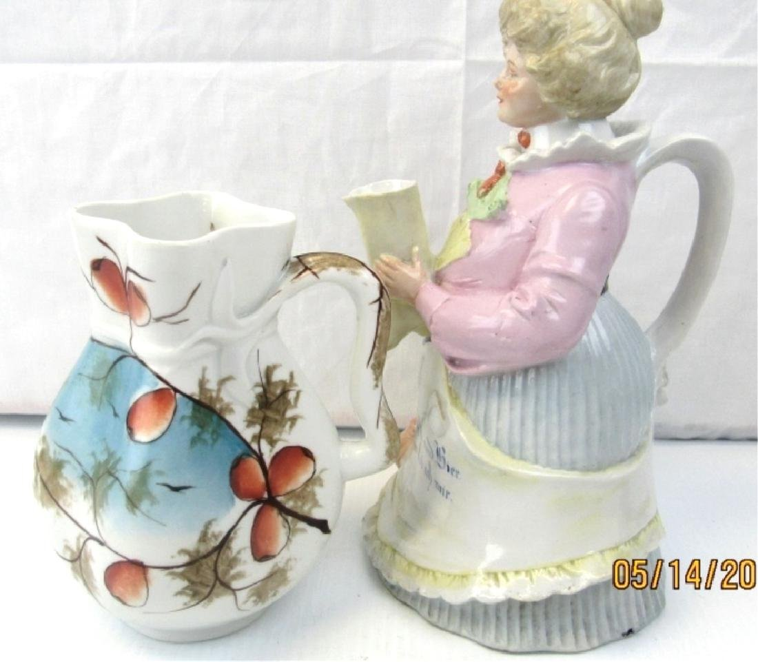 German Figural Teapot & Pitcher