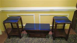 Set of 3 Accent Tables with Blue Glass Tops