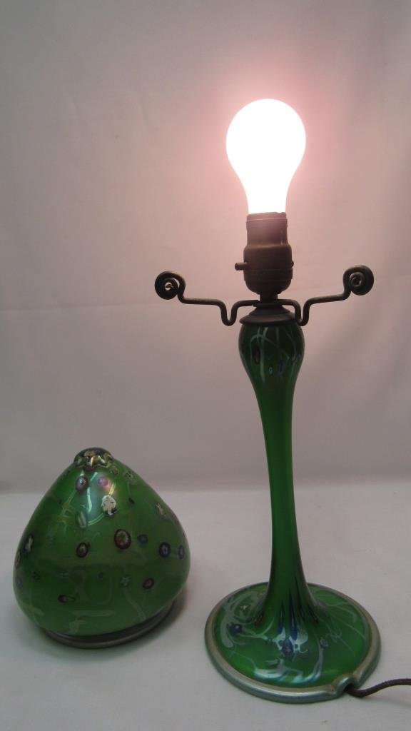 Vintage Painted Glass Table Lamp - 6