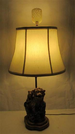 Antique Chinese Foo Dog Lamp