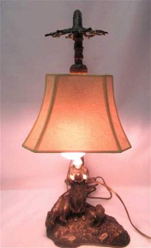Bronze Table Lamp with Figurine Base
