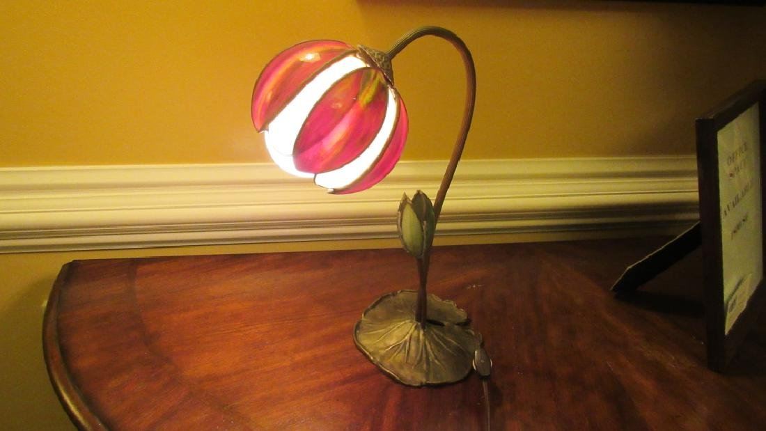 Vintage Table Lamp with Glass Petal Shades - 7