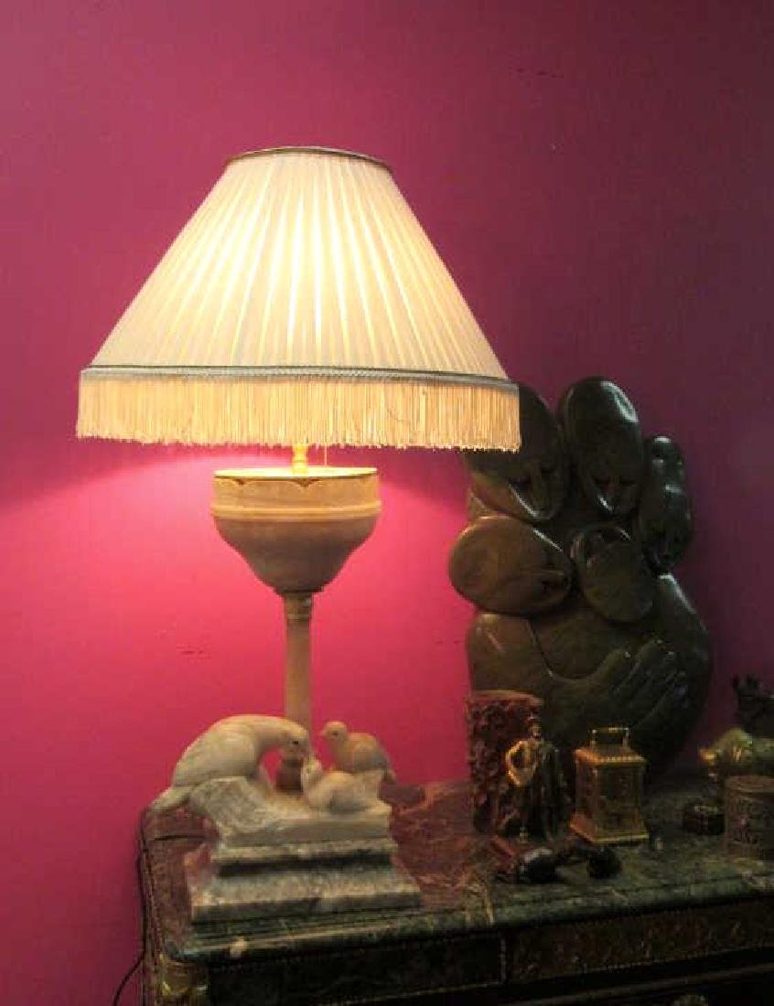 Vintage Marble Figurine Table Lamp
