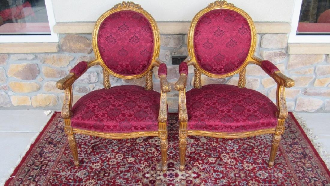 Pair of Victorian Style Chairs Gold Gilded