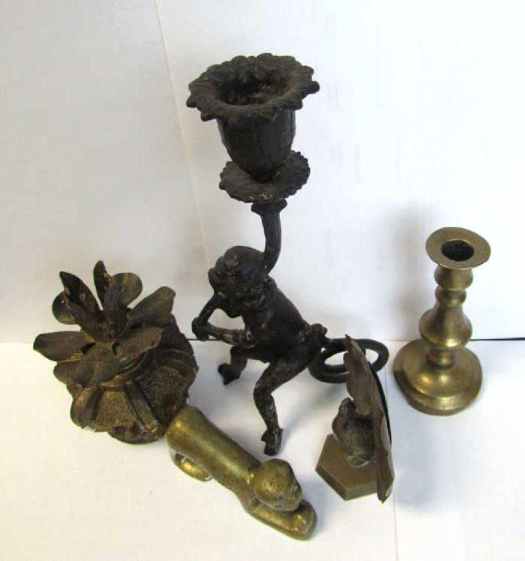 Lot of Bronze Candle Holders and Pen Holders - 2
