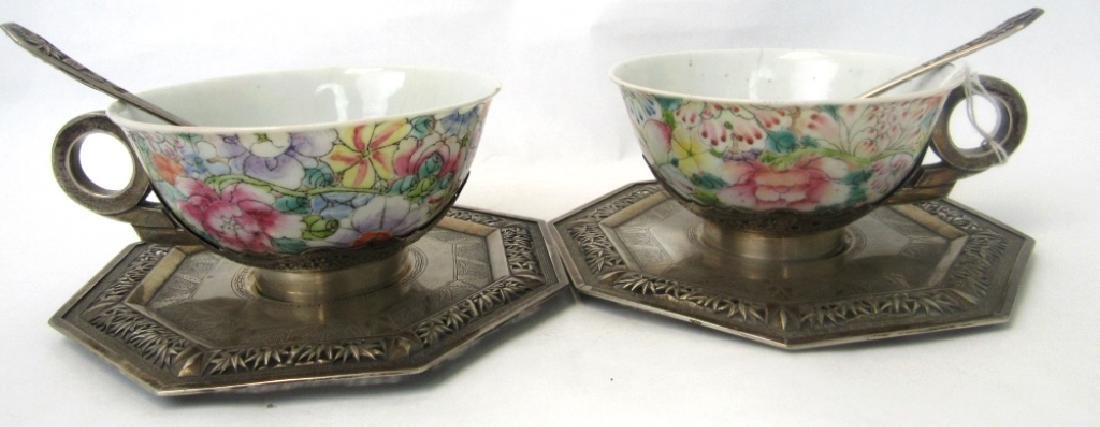 Pair of Qing Dynasty Silver Teacups with Teaspoons