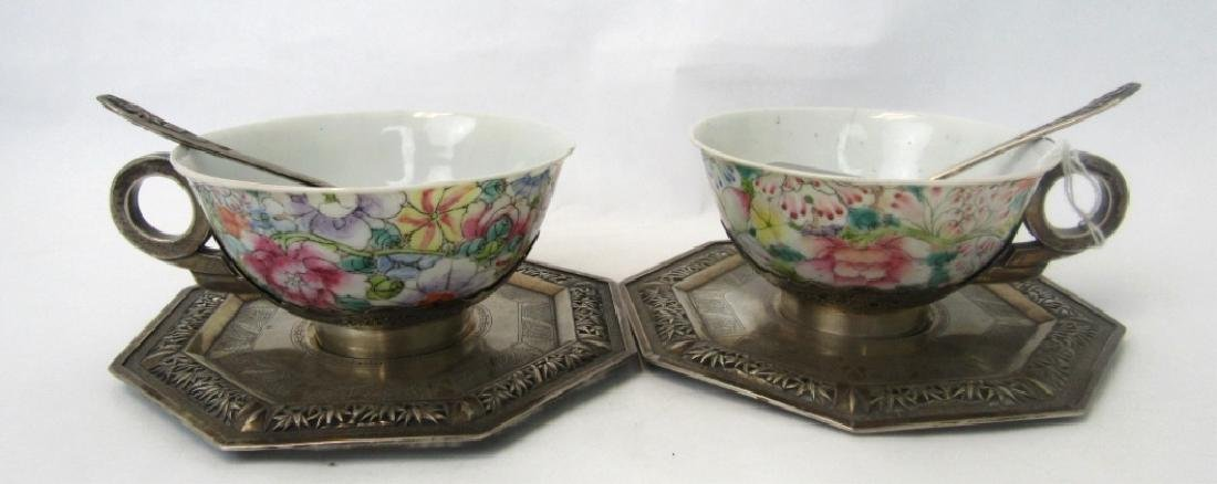 Pair of Qing Dynasty Silver Teacups with Teaspoons - 2