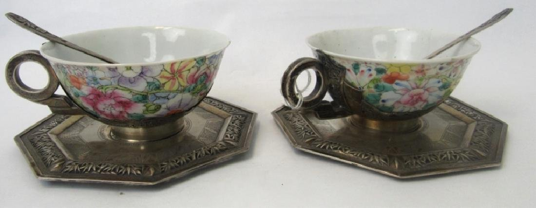 Pair of Qing Dynasty Silver Teacups with Teaspoons - 3