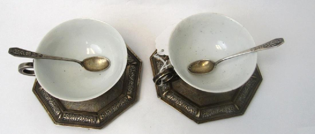 Pair of Qing Dynasty Silver Teacups with Teaspoons - 4