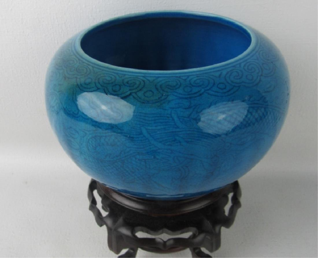 Qing Dynasty Blue Enameled Dragon Bowl